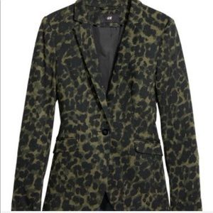 H&M Animal Print Green Blazer